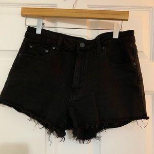 Aritzia talula black denim shorts
